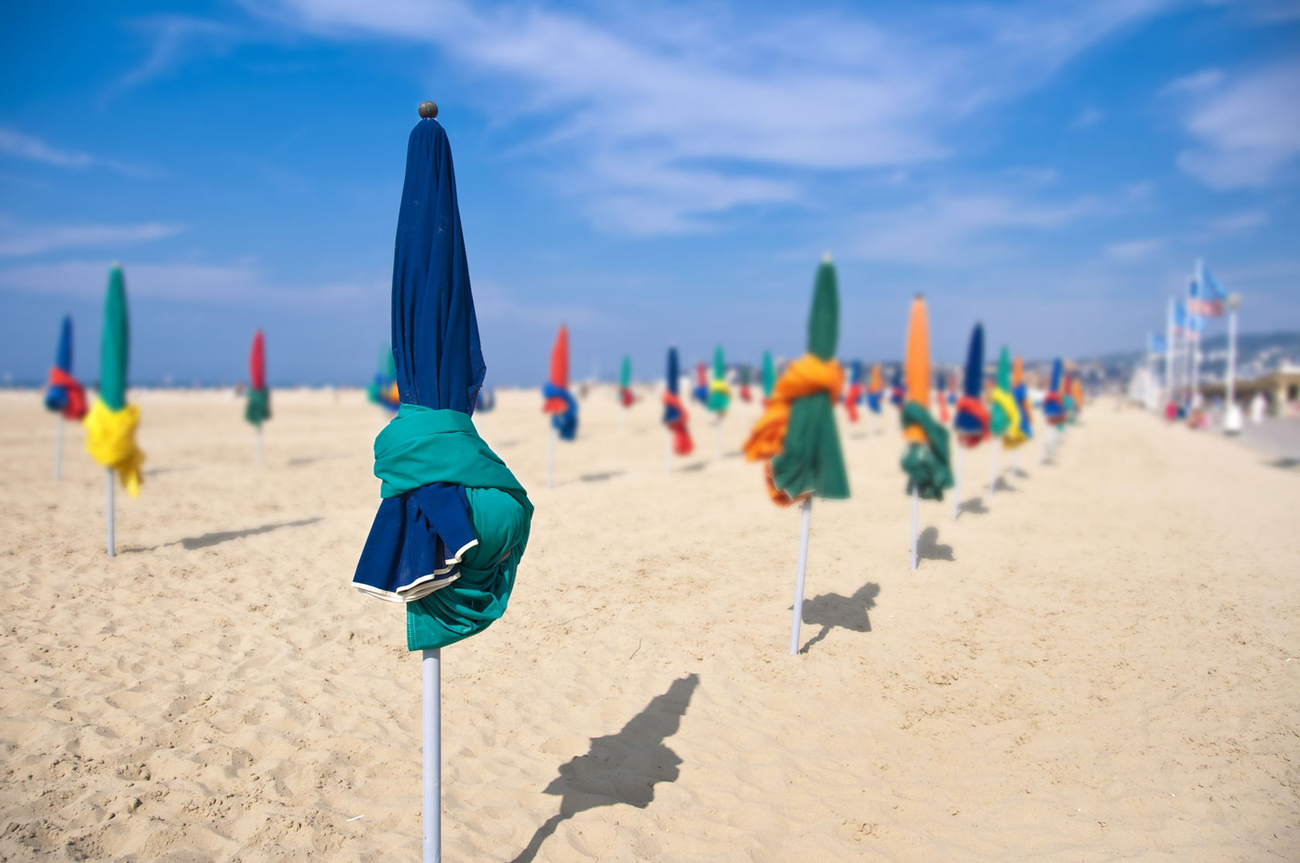 Beach umbrellas, Deauville, France